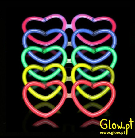 Óculos Glow Coração (Pack 50)