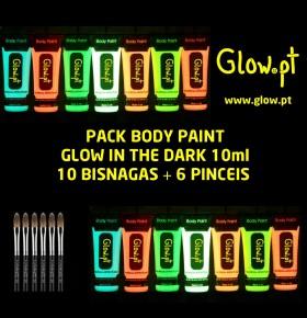 Pack Body Paint Glow (10ml) x 10