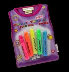 Canetas Fluorescentes p/ Tecido (pack 5)