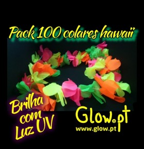 Pack 100 Colares Hawaii Fluorescentes