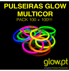 Pulseiras Glow Multicor ( Pack 100 + 100 )